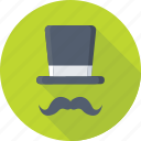 funky, hipster, moustache, party props, top hat icon