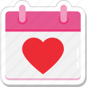 calendar, event, heart, schedule, valentine day icon