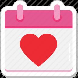 calendar, event, heart, schedule, valentine day icon