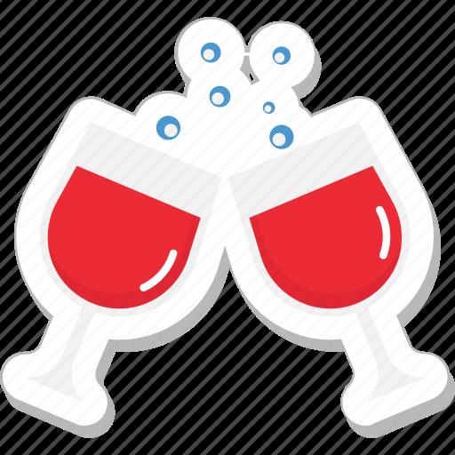 celebration, champagne glasses, cheers, toasting, wine glasses icon