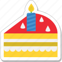 bakery, cake piece, candle, dessert, sweet icon