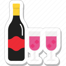 alcohol, drink, glass, wine, wine bottle icon