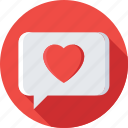 chat bubble, chatting, heart, love chat, message icon