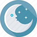 moon, night, night time, sky, stars icon