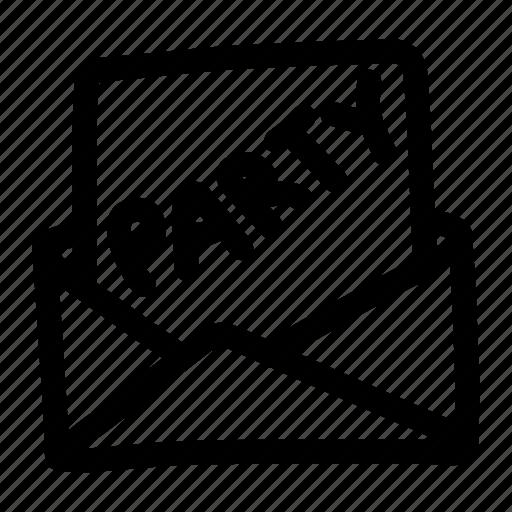 invitation, letter, open, party, party invitation icon