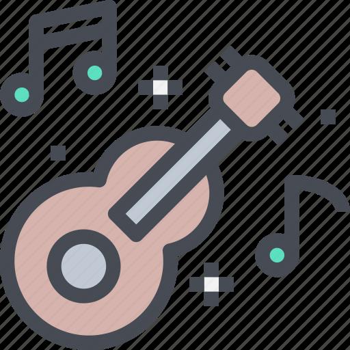 audio, guitar, instrument, music, play icon
