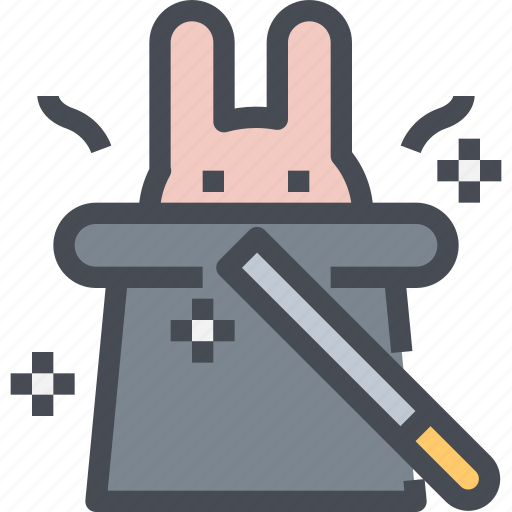 Hat, magic, magician, party, wand, wizard icon - Download on Iconfinder