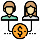 affiliate, income, man, marketing, money, passive, woman icon