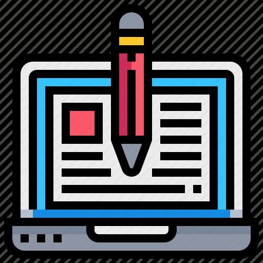blogger, computer, laptop, notebook, pencil icon