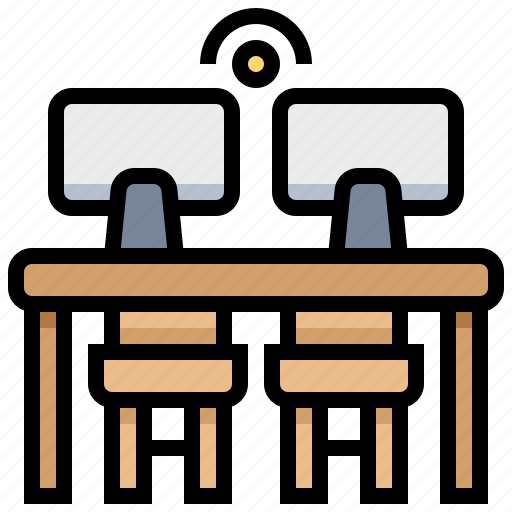 co, computer, space, table, working icon