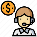 callcenter, consult, currency, man, money, support icon