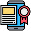 content, digital, license, ribbon, smartphone, tablet icon