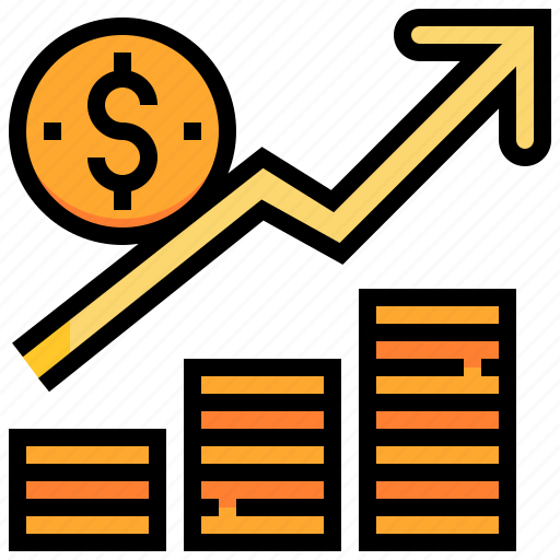currency, graph, growth, income, money, stream icon
