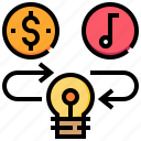 currency, idea, intellectual, money, property, right icon