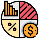 currency, dollar, graph, investment, money, portfolio icon