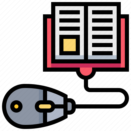 book, click, knowledge, learning, mouse, sell icon