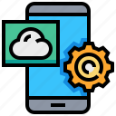 app, cloud, gear, phone, smartphone, weather icon