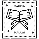 malawi monogram, malawi stamp, postage stamp, seal stamp icon