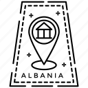 albania stamp, albania sticker, passport label, postage stamp, verification stamp