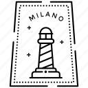italy sticker, milano stamp, passport stamp, postage stamp, visa stamp