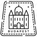budapest logo, budapest stamp, hungary capital, monogram, passport stamp, postage stamp icon