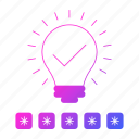 approved, bulb, idea, password, protection, security icon