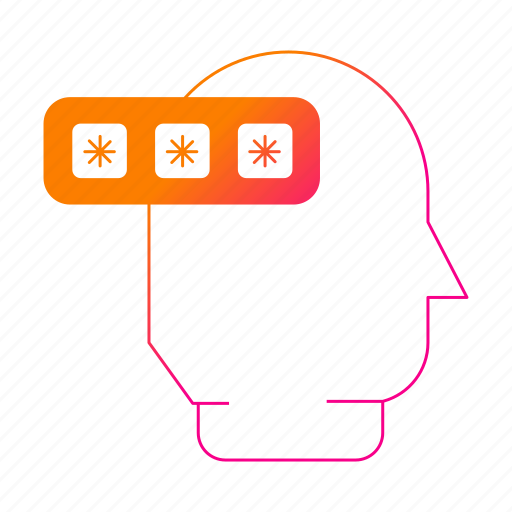 head, password, protection, security, thinking icon