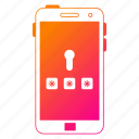 mobile, password, phone, protection, security, smartphone icon