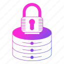 database, lock, password, protection, security, server icon