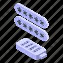 usb, stick, password, protection, isometric