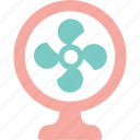 breeze, cool, electric fan, fan, heat, summer, wind icon
