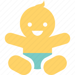 diaper, doll, infant, kid, puppet, smile, toy icon