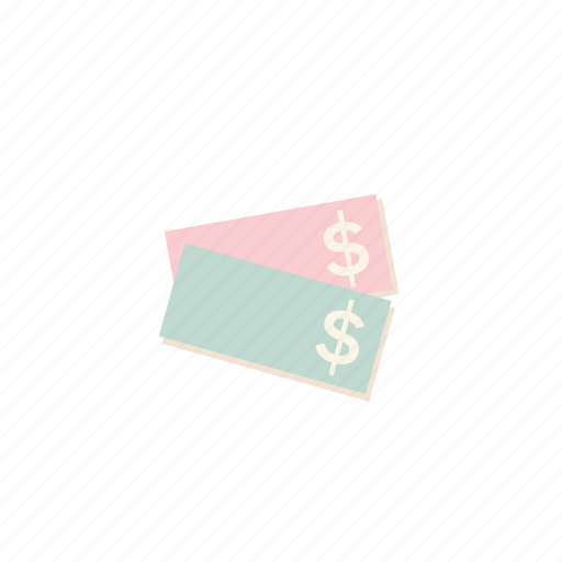 business, cash, dollars, monney, pastel icon