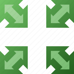 arrow, in, out icon