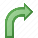 arrow, right, turn icon