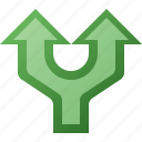 arrow, divide, split, up icon