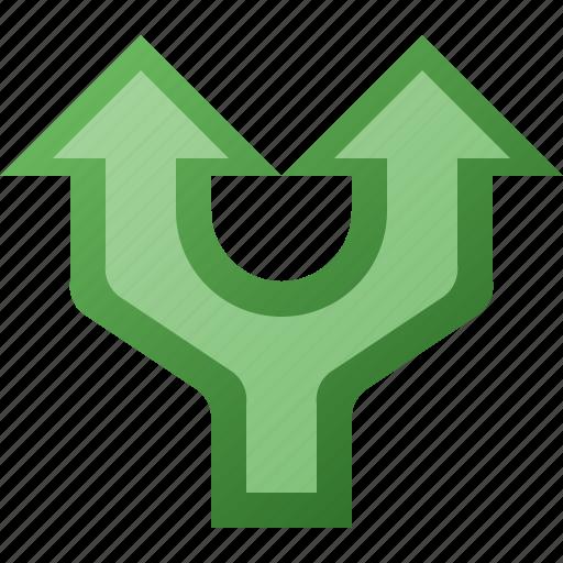 arrow, divide, split, up icon