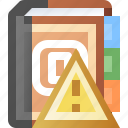 addresses, alert, book, error, warning icon
