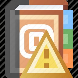 addresses, alert, book, error, warning icon
