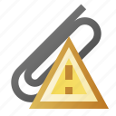 alert, attach, attachment, error, warning icon