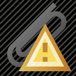 alert, attach, attachment, error, warning icon
