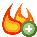 add, fire, flame, junk icon