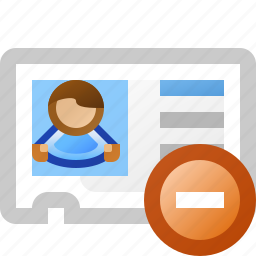 delete, vcard icon
