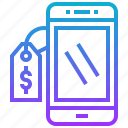 mobile, phone, price, sale, smartphone icon