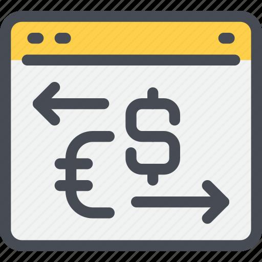 arrow, bank, browser, exchange, money, payment, website icon