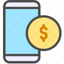 coin, mobile, money icon