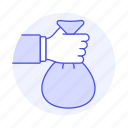 bag, cash, dollar, grab, hand, money, payment, traditional
