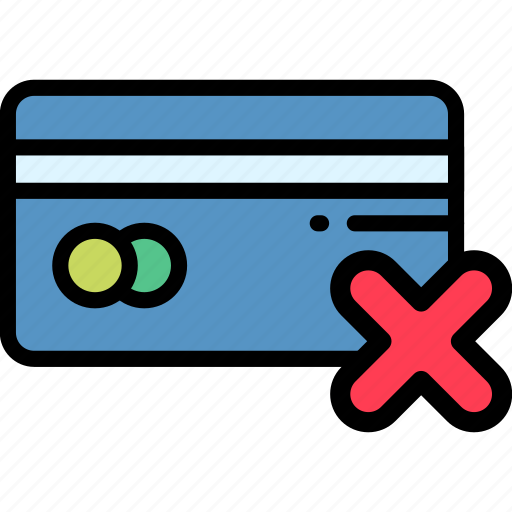 card, declined, electronic, payment icon