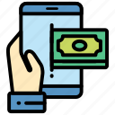electronic, money, payment, smartphone icon