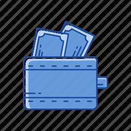 cash, money, wallet, wallet with cash icon